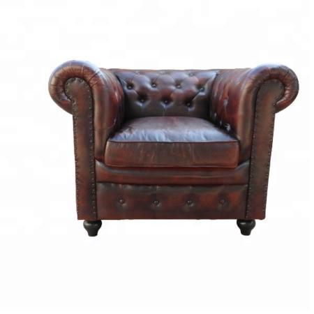 Sillon o sofa Chesterfield de cuero autentico