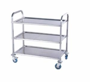 Carro - Trolley catering con ruedas y 3 pisos. Acero inoxidable